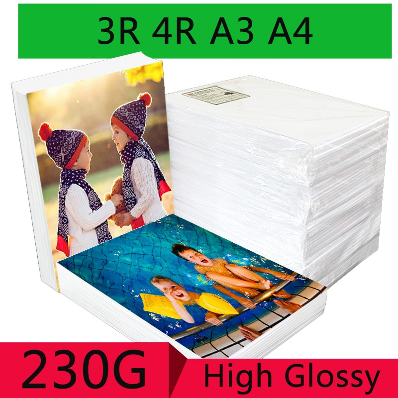 100 Sheets/package 3R 4R A3 A4 High Gloss Photo Paper for Inkjet Printer Photo Studio Photographer Image Printing Glossy Paper 2021 hot sale 100 sheets glossy 4r 4x6 photo paper 200gsm high quality for inkjet printers