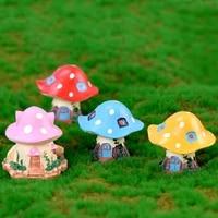 2pcs fairy mushroom house home craft garden bonsai decor aquarium decoration miniature dollhouse ornament mini diy