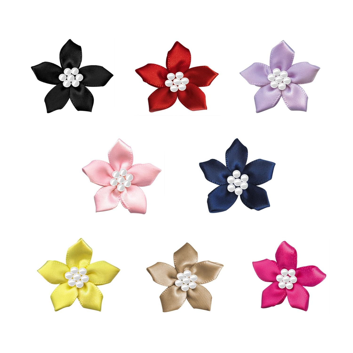 Mix Satin Ribbon Bow Flower Pearl Bead DIY Fashion Headwear Accessories Handmade Craft Project Sewing Hats Shoes Wedding Flowers