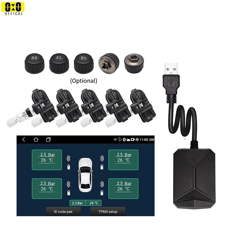 5 Tires Android DVD TPMS for Car Radio DVD Player Tire Pressure Monitoring System Spare Tyre Internal External Sensor USB TMPS