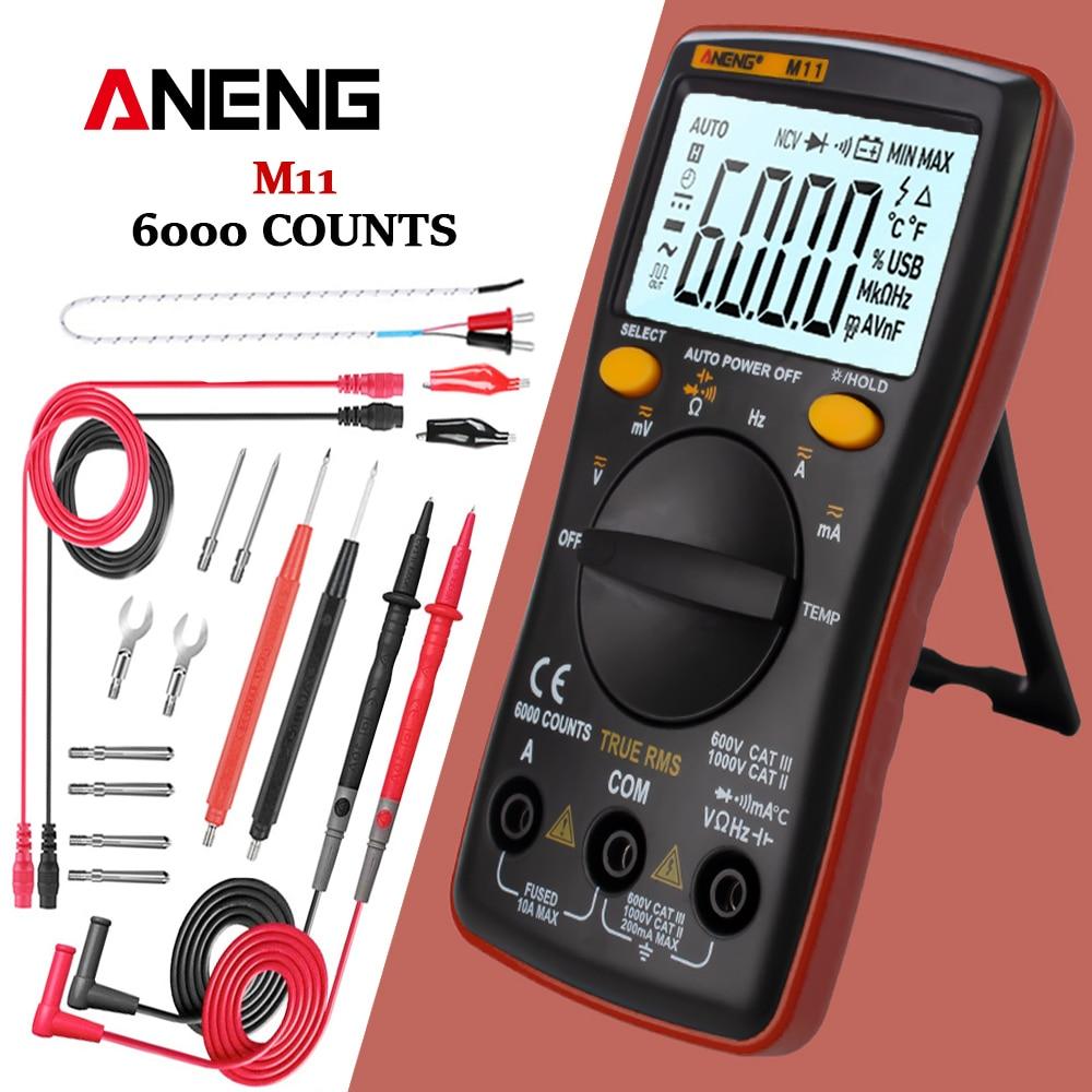 Multímetro Digital ANENG M11 6000 recuentos probador de transistores profesionales multímetro medidor Lcr Analogico Rm101/zt102