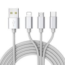 ROCK 3 in 1 USB 케이블 (iPhone 11 8 7 용) 삼성 S10 S9 휴대 전화 용 멀티 마이크로 USB 유형 C 케이블 고속 충전 충전기 코드