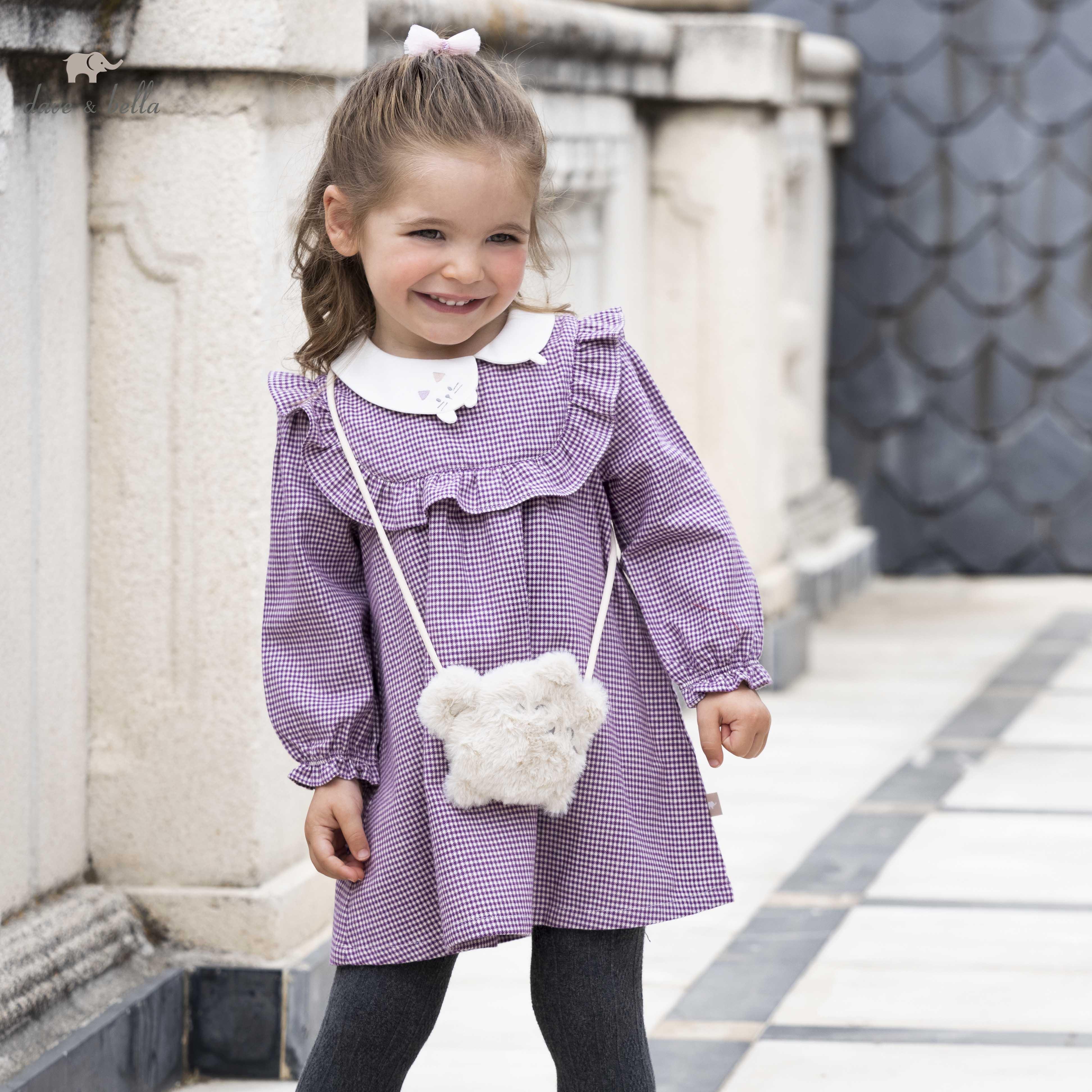 DBJ19263 ديف بيلا الخريف طفلة الموضة منقوشة فستان الكرتون مع حقيبة صغيرة فستان حفلة الاطفال الرضع لوليتا 2 قطعة الملابس