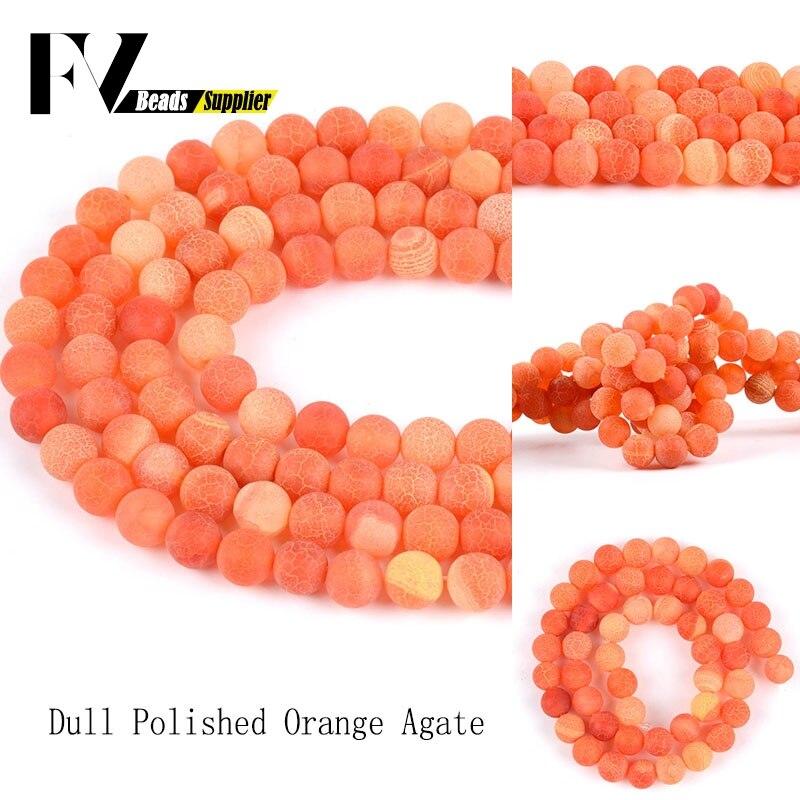 4-12mm naranja Natural Frost roto ágatas de espaciador suelto cuentas redondas de...