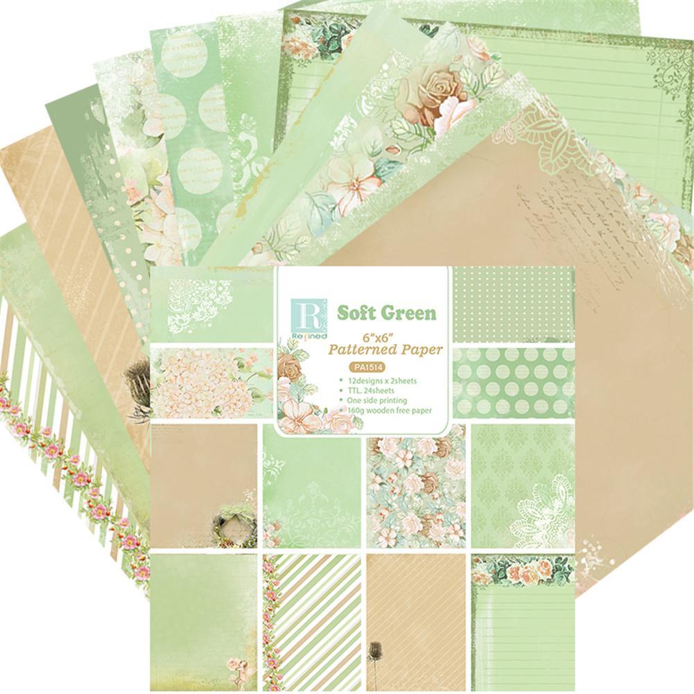 24 folhas verde macio scrapbooking papel modelado origami arte fundo cartão de papel fazendo diy aniversário scrapbook papel ofício