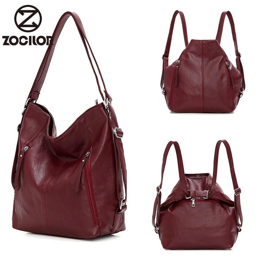 Multifunction Women's backpack casual travel shoulder bag ladies bag simple fashion PU leather bag designer bags For Women