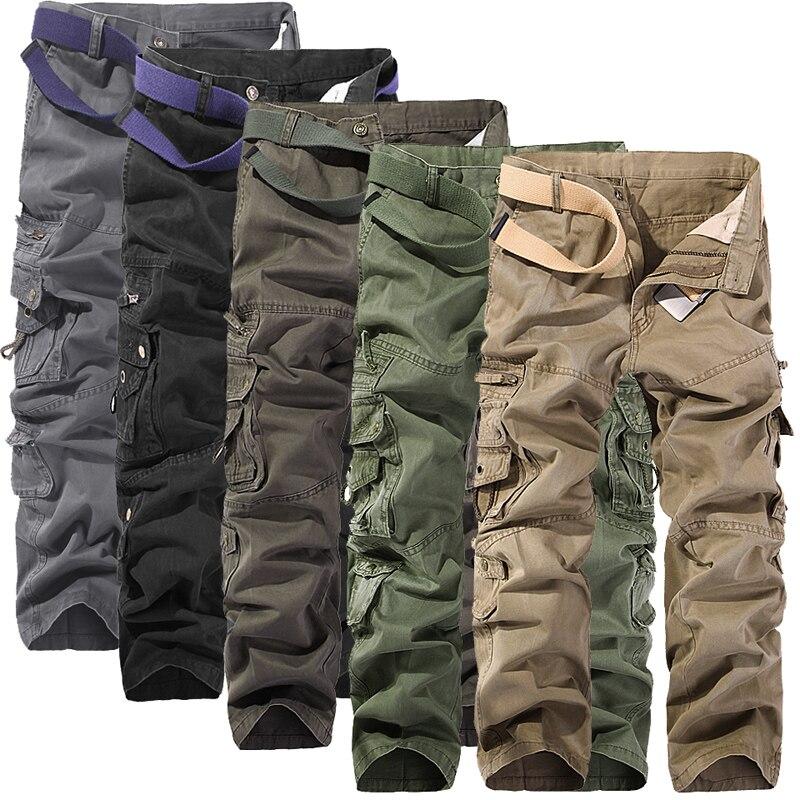 MIXCUBIC 2019 pantalones tácticos para hombre, pantalones holgados de algodón para lavado con múltiples bolsillos, pantalones de carga para hombre, pantalones de herramientas de color sólido, talla 40