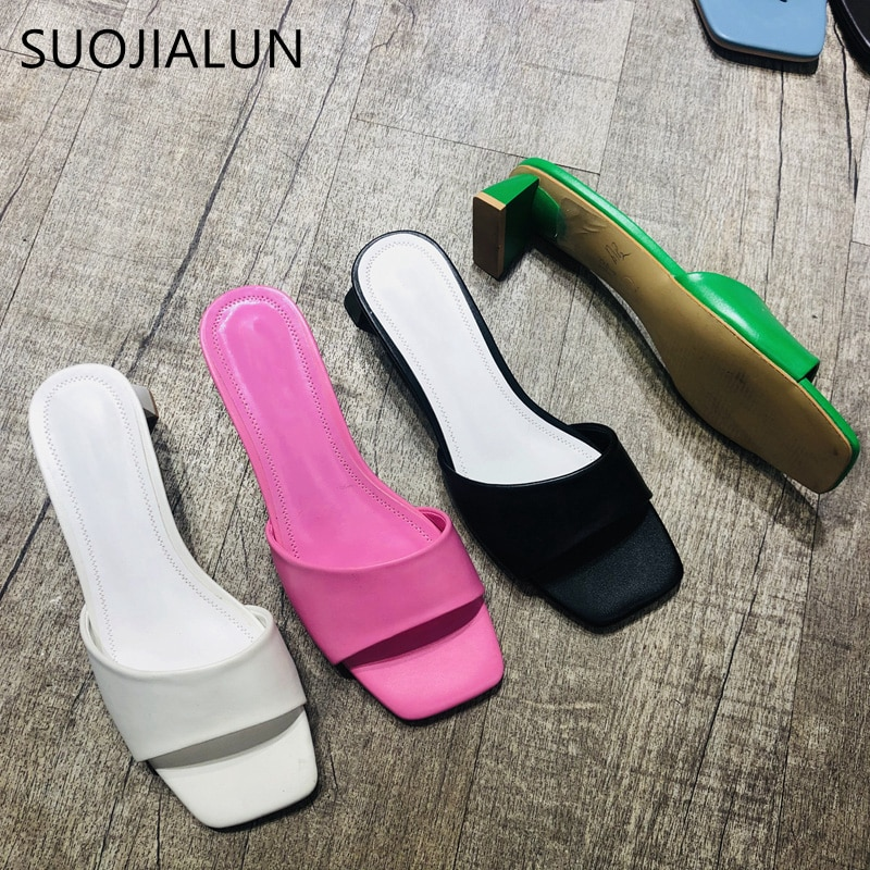 SUOJIALUN-صندل نسائي مفتوح من الأمام بكعب منخفض ، حذاء مسطح غير رسمي ، للشاطئ ، للصيف ، 2020