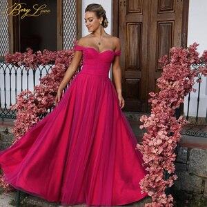 BeryLove Prom Dress Long Evening Dress Lace Simple Formal Dress Off the Shoulder Prom Gown Elegant Party Dress robes de soirée