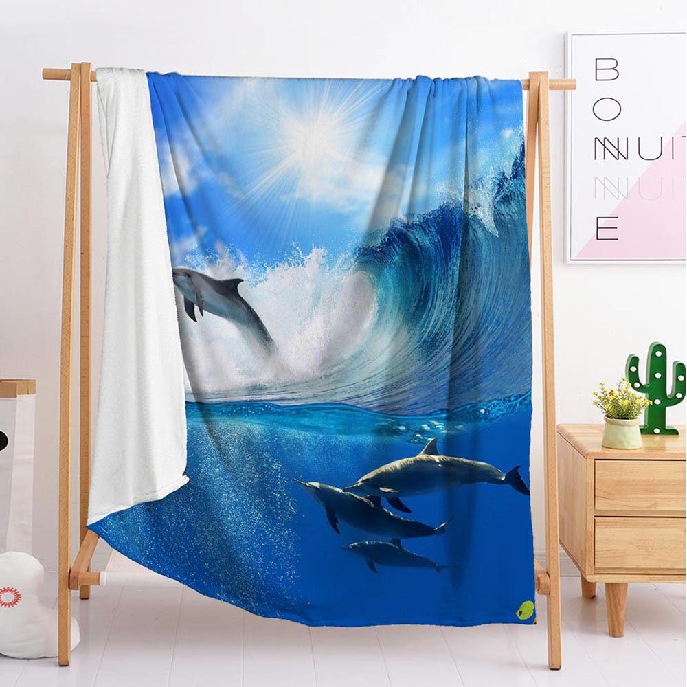 2020 جديد دولفين الأزرق تصدير مخصص البطانيات كبيرة وصغيرة الحجم رمي بطانية نسيج النوم بطانية لينة الفانيلا الفراش