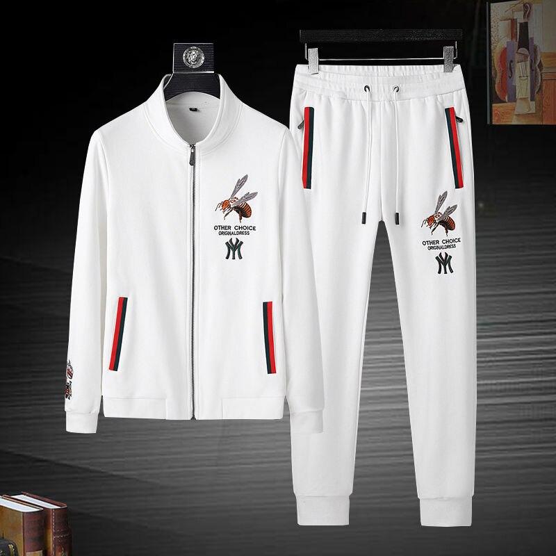 Fashion men 2021 spring new cardigan casual running sportswear jacket pants two-piece set