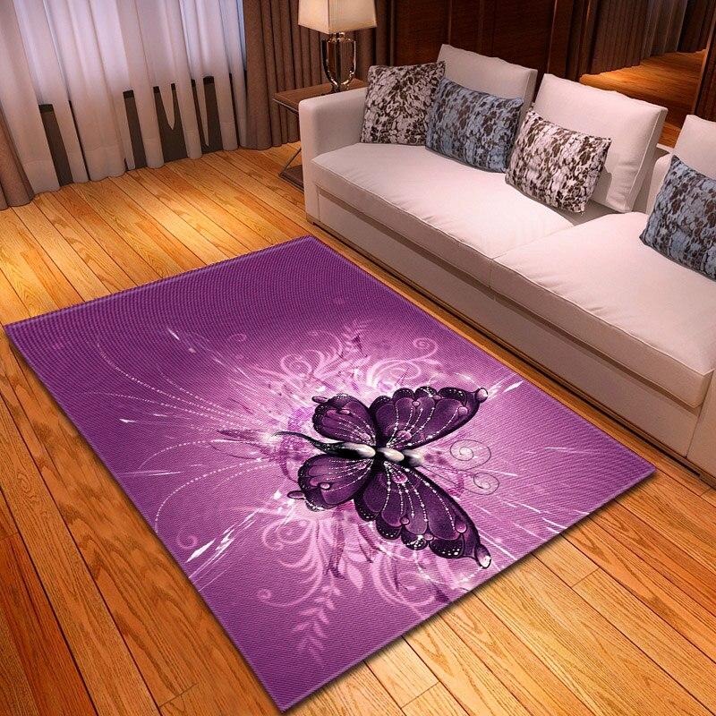 Decoración del hogar, alfombra de mariposa 3D, alfombras antideslizantes de franela para dormitorio de niñas, alfombra de suelo de juegos para niños, alfombra púrpura para sala de estar