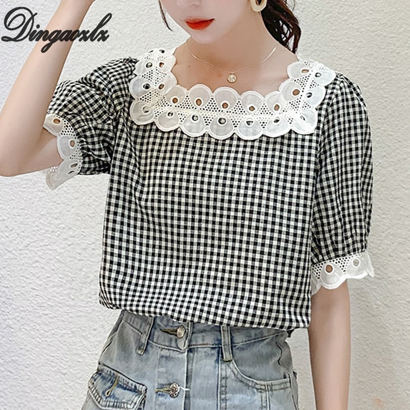 Dingaozlz женская блузка с коротким рукавом, клетчатая рубашка, модная шифоновая блузка
