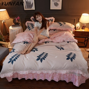 New Luxury High quality Bedding Set Queen full size Flower Leaf print lace Duvet Cover sets Bed sheet set Pillowcase bedclothes