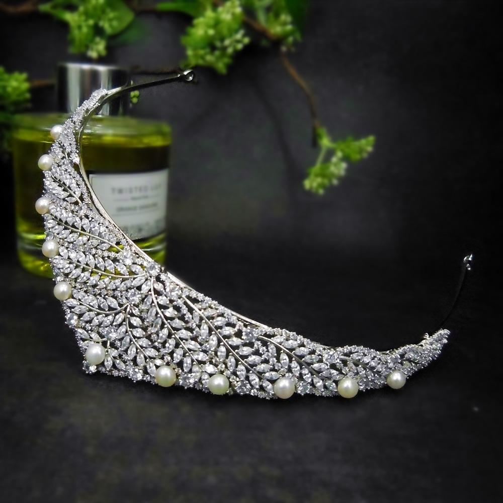 Perla De agua dulce Zirconia hoja corona diadema Tiaras De boda para...