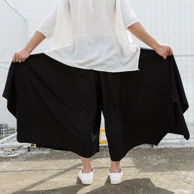 Dark Black Simple Super Wide Leg Flared Men's Skirt Pants Nine Points Casual Pants Hip Hop Streetwear Men Clothes 2020