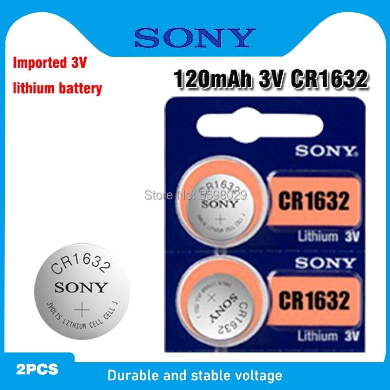 2 pc sony original cr1632 botão bateria de célula moeda para relógio de carro remoto chave cr 1632 ecr1632 gpcr1632 3v bateria de lítio