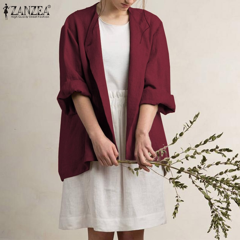 ZANZEA, chaqueta con solapa de chaqueta para mujer, cuello informal, Blazers de algodón 2020, nueva moda, abrigos de manga larga, chaquetas, prendas de vestir, blazer femenino 5XL