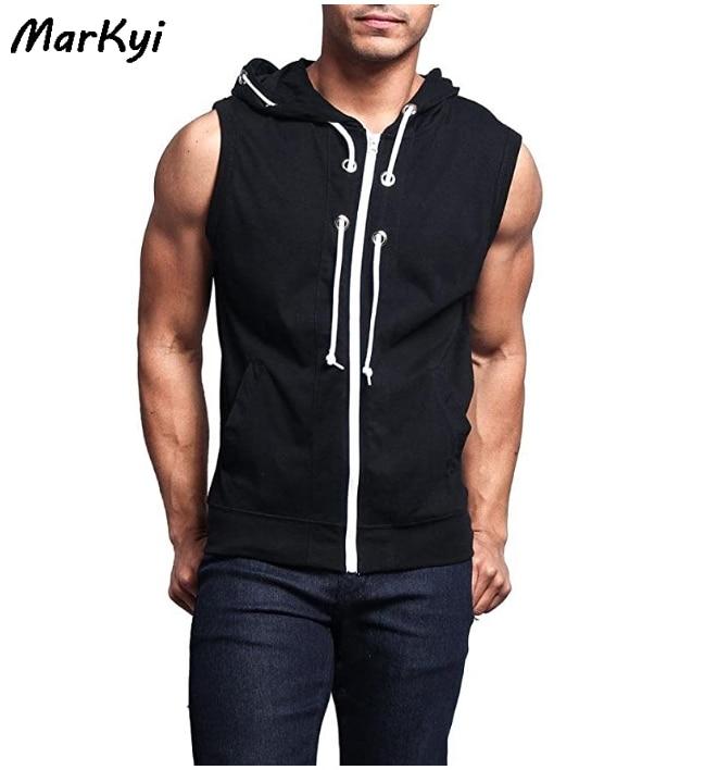 MarKyi 2020 desgin tank top men gym zipper Fitness Cotton Sleeveless Shirt Stringer Singlet Male Casual mens sleeveless hoodies