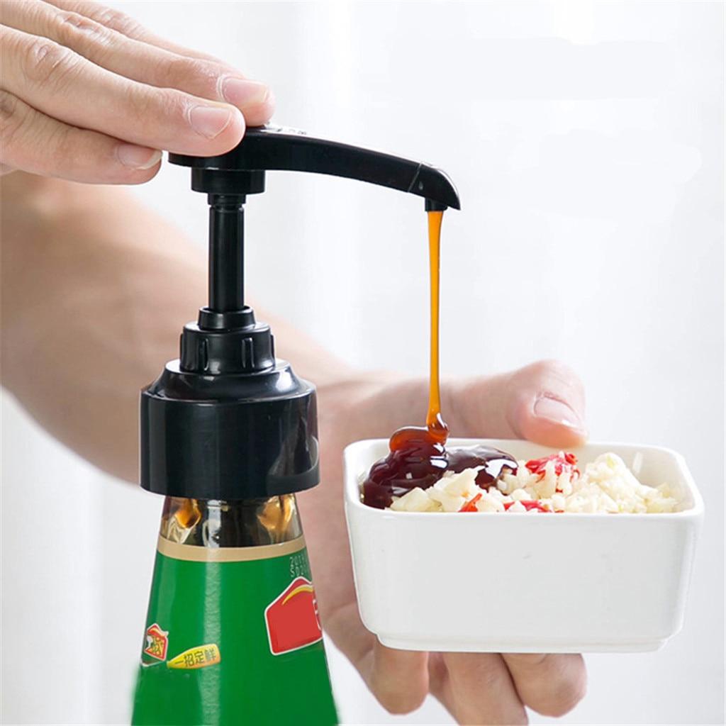 Boquilla de botella de jarabe rociador de aceite de presión para el hogar salsa de ostras herramientas de plástico de empuje accesorios para cocina