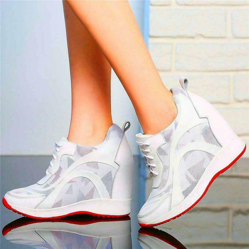Couro de Vaca Chique Feminino Preto Branco Real Moda Sapatilha Alta Cunha Escondida Calcanhar Casual Sapatos Esportivos Estilos Coreano Camuflagem