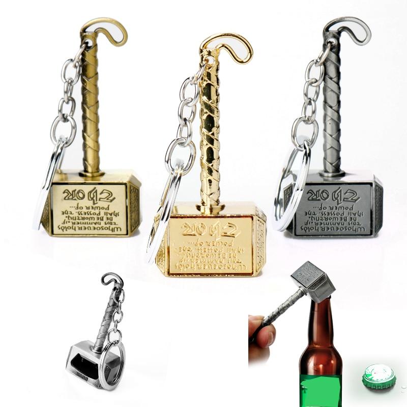 The Avengers 4 Thor Hammer Keychain Bottle Opener Movie Prop Trinket Key Ring Chains