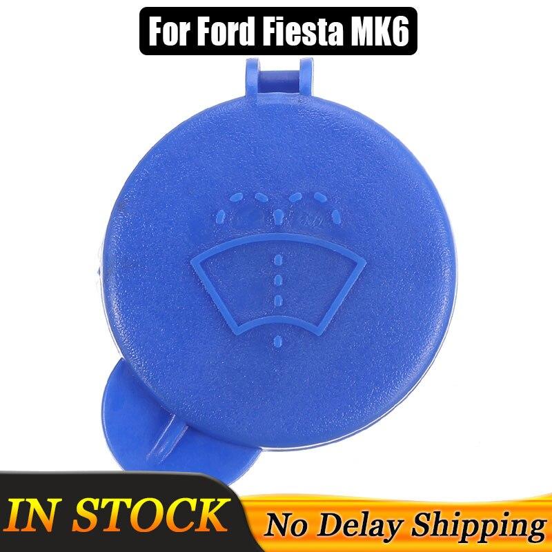 Tapa de depósito de líquido limpiaparabrisas azul para coche, cubierta para Ford para Fiesta MK6 2001-2008 1488251, tapa de tanque para motores de gasolina