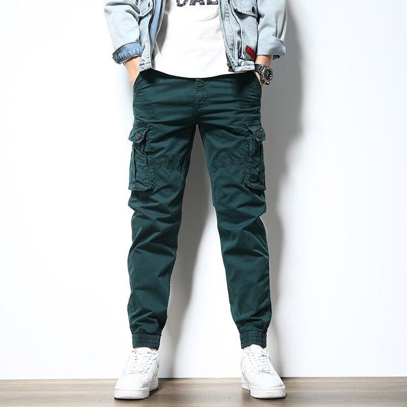 Модные мужские джинсы в Корейском стиле, Свободные повседневные брюки-карго с большими карманами, Мужская Уличная одежда, Джоггеры в стиле ...
