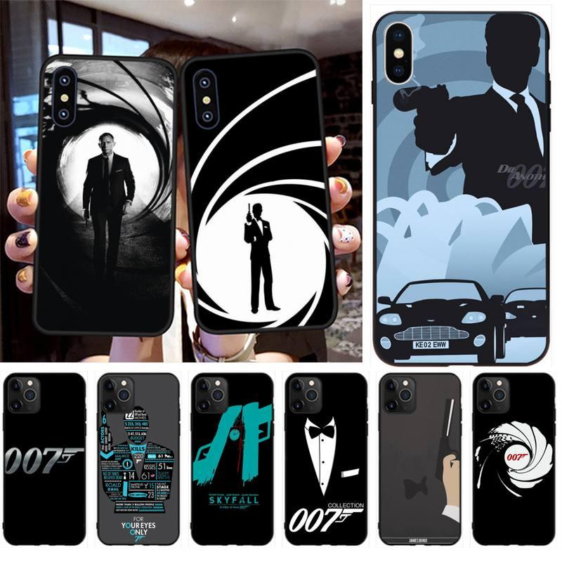 HPCHCJHM, James Bond 007, funda de teléfono suave de TPU negro, funda para iPhone 11 pro XS MAX 8 7 6 6S Plus X 5S SE XR, funda