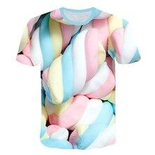 3d еда футболка для женщин и мужчин Зефир футболка Забавный узор уличная повседневная с коротким рукавом Топы конфеты печатных футболки