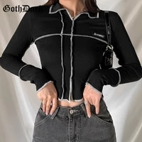 goth dark punk black techwear gothic women t shirts grunge hip hop bodycon patchwork crop tops long sleeve basic streetwear tee