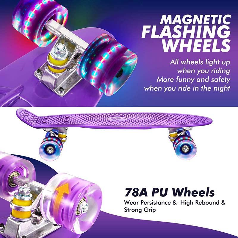 PU Flash Four Wheel Skateboard Small Fish Board Skateboard Retro Penny Board Flash Wheel Truck Bearing Mini Skateboard Board