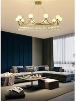 modern luxury living room chandelier lighting nordic golden round crystal crown pendant light bedroom dining room hanging lights
