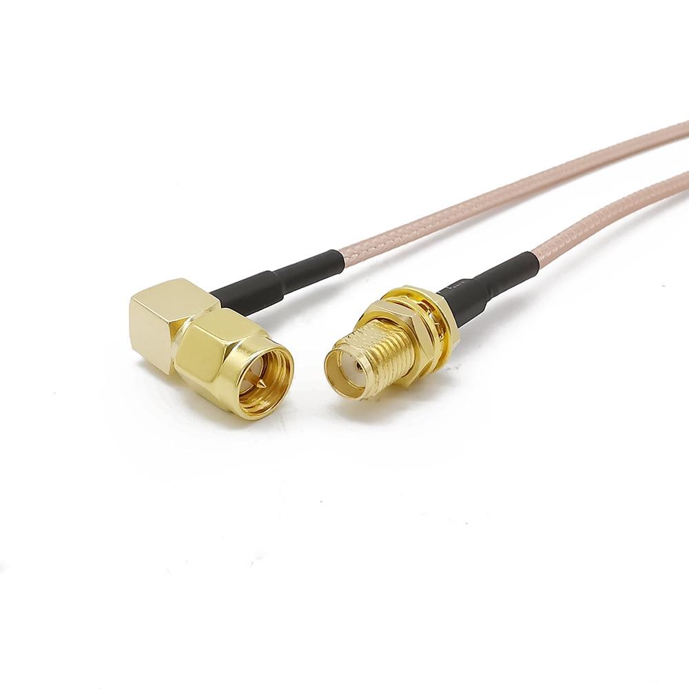 SMA macho ángulo recto a SMA hembra Pigtail RG316 baja pérdida RF cable enchufe a conector jack para WIFI FPV antena GSM, LAN 0-6Ghz