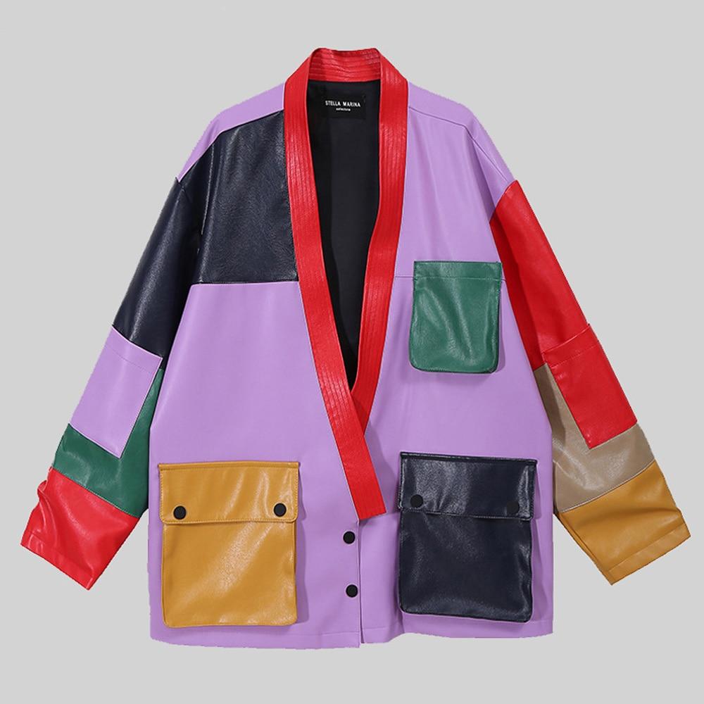 Fullyoung 2021 Latest Loose Fit Big Size Jacket Pu Leather Split New V-Collar Long Sleeve Women Coat Fashion Tide Spring Autumn enlarge