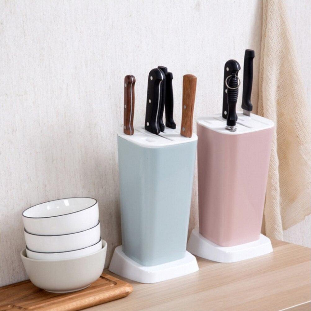 Sostenedor de cuchillo doméstico herramienta corte plástico almacenaje con cortador Rack cortador multifunción organizador de cocina con soporte (Color aleatorio)