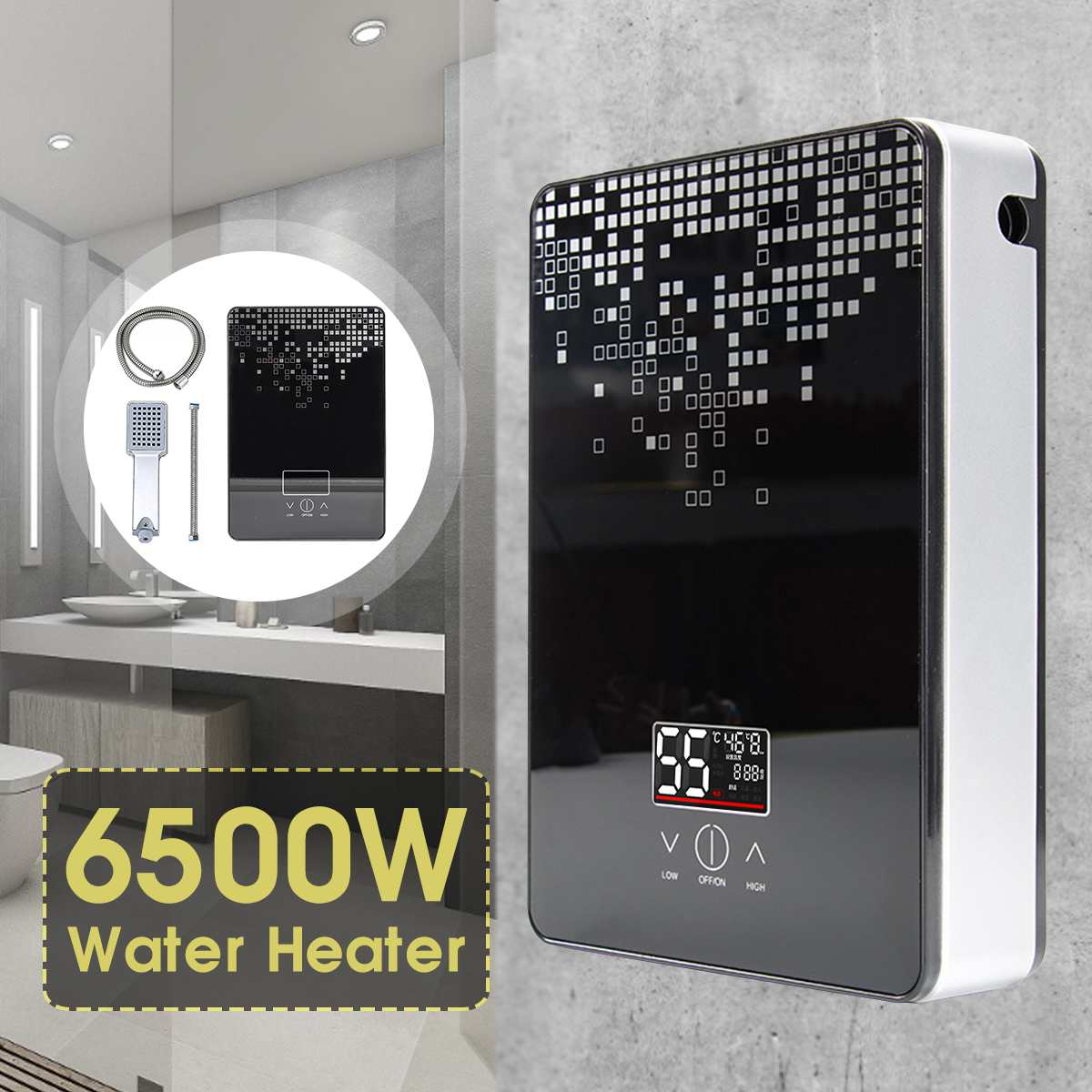 High Quality Instant Tankless Water Heater 6500w 220v Thermostat Induction Heater Smart Touch Electric Heaters Shower