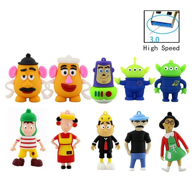 Usb 3.0 USB Flash Drive 128G Cartoon Toy Story Pen Drive Buzz Lightyear 4G 8G 16G 32GB 64G Pendrive Aliens Woody Mr. Mrs.Potato