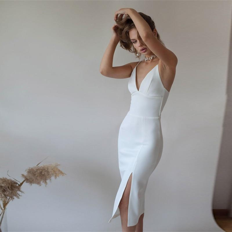 فستان مثير للحفلات أبيض بدون ظهر للنساء بحمالات رفيعة وفتحة عالية غمد ضيق 2021 ربيع جديد