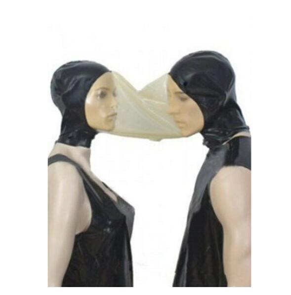 Sexy lovers Lencería unisex latext empalmado transparente hecho a mano látex doble capucha pareja máscara cekc uniforme disfraces fetiche
