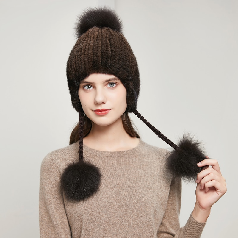 Winter women's fur hat, real mink straw hat, two ropes with plush ball to keep warm, knitted ear protection, Russian styleDY-05