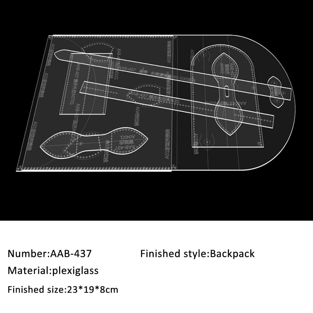 Ladies backpack leisure mini schoolbag version pattern drawing DIY handmade leather goods pattern acrylic template