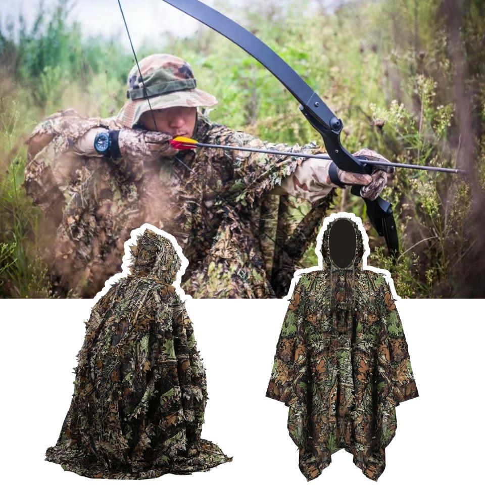3D camuflagem Ternos camisa camuflagem terno ghillie sniper caça roupas moro Folhas Discrição Poncho Manto manto uniforme militar