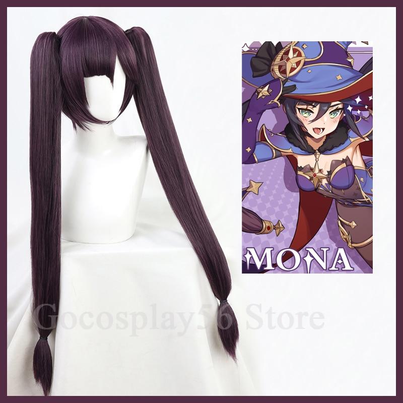 Genshin Impact Cosplay Mona Wig Long Straight Twin Ponytails Bangs Dark Purple Heat Resistant Hair A