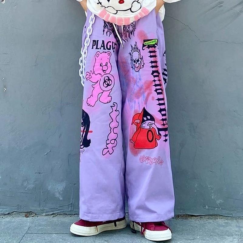 Womens Wide-leg Pants Summer New Style Cartoon Print Straight Trousers Personality Graffiti Street Clothing Womens Loose Pants womens loose yoga pants floral print wide leg trousers long stretch pants loose palazzo trousers sweatpantsharlan pants
