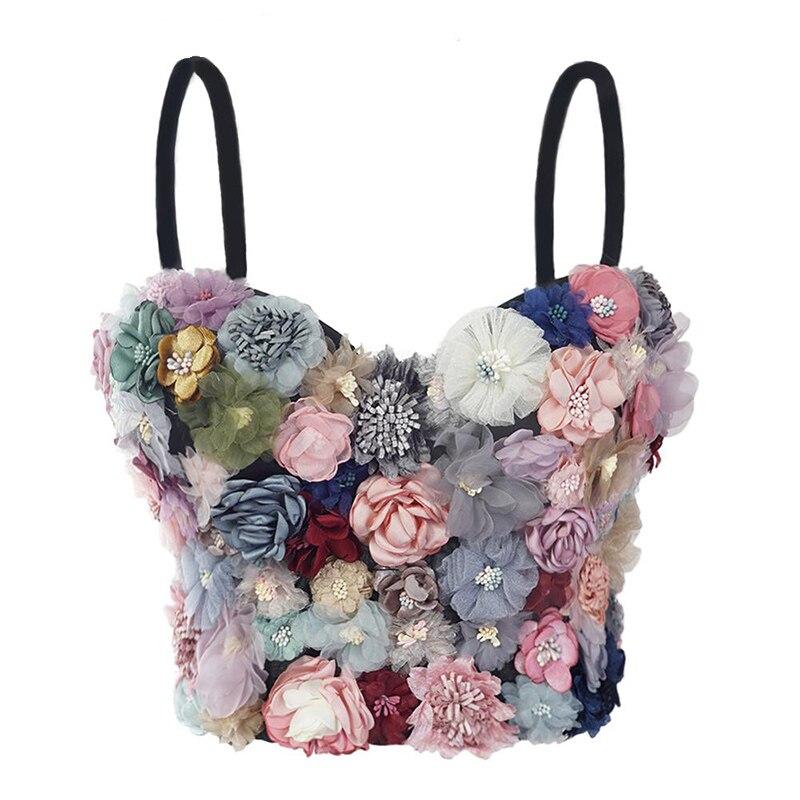 Floral de fajas de sujetador Bustier Push Up Slim Fit mujeres Bralette Top Chaleco de talla grande Bralette nupcial