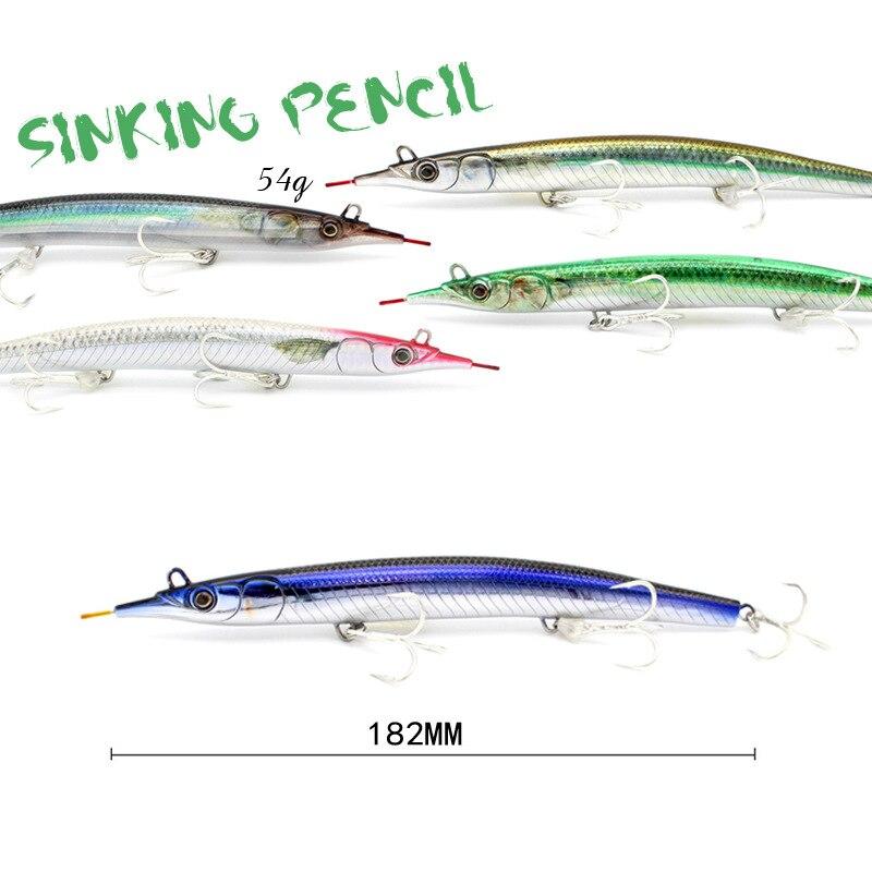 Japanese 182mm / 54G sea fishing submerged pencil road sub bait conjoined steel wire tuna false bait hard bait