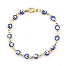 1 PC Hot 304 Stainless Steel Bracelets For Women Men Jewelry Gold Color Link Chain Colorful Evil Eye