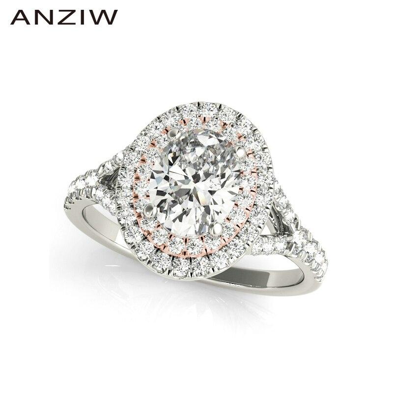 925 mujeres de plata esterlina anillos de Compromiso de boda 0.5ct Oavl Halo doble fiesta encantadora anillos de plata, anillos de mujer