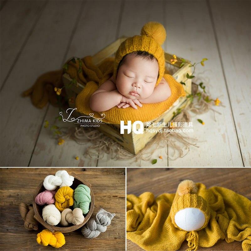 اكسسوارات التصوير الفوتوغرافي لحديثي الولادة ، دعائم التصوير الفوتوغرافي ، غلاف الكروشيه ، قبعة ، مرن يدويًا